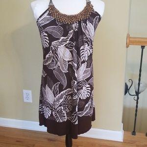 BCX Brown Tropical Halter Dress. Size L, worn once
